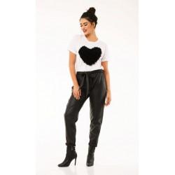 Παντελόνι Δερματίνη Γυναικείο Μαύρο με Ζώνη