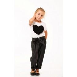 Παντελόνι Δερματίνη Παιδικό Μαύρο με Ζώνη