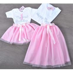 Σετ (4 τεμάχια) Φούστες Τουτου Ροζ & Μπλούζες My First Birthday-Happy Silver Glitter & Νούμερο Ροζ