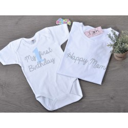 Μπλούζες (σετ 2 τεμαχίων) My First Birthday-Happy MomSilver Glitter & Σατέν Νούμερο για ΑΓΟΡΙ