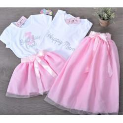 Σετ (4 τεμάχια) Φούστες Τουτου & Μπλούζες Happy Mom & Birthday Girl Silver Glitter & Νούμερο